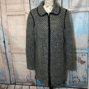 Talbots Wool Blend Coat Zipper Tweed